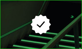 Glow in the dark tape on stairway, tick icon