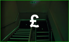 Glow in the dark tape on stairs, pound sign icon