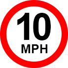 large 10 miles per hour speed limit sign