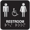 Outdoor Aluminum ADA Braille Signs - Restroom