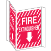 Fire Extinguisher Sign - 3 Way View, Down Arrow