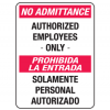 No Admittance Authorized Employees Only English-Spanish Security Signs