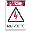Lockout Hazard Warning Labels- Danger 480 Volts w/ Graphic