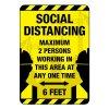 Social Distancing Maximum 2 Persons Construction Site Sign