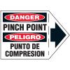 Machine Safety Arrow Labels - Bilingual - Danger Pinch Point