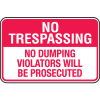 Property Security Signs - No Dumping