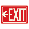 Exit Sign With Left Arrow - Glow-In-The-Dark Polished Red Sign
