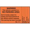 2-Part Parking Violation Labels - Warning No Parking Area