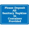 Please Deposit All Sanitary Napkins Interior Decor Signs