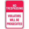 Property Security Sign - No Trespassing Violators